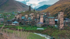 Coloroful evening view of Ushguli village - UNESCO World Heritage Site. Stock Footage