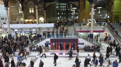 View of the interior of Liverpool station in London - stock footage