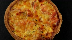Quiche (pie) with salmon fish Stock Footage