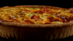 Quiche (pie) with vegetables Stock Footage