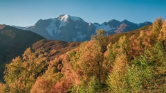 Beautiful autumn morning in the Caucasus mountains. - stock footage
