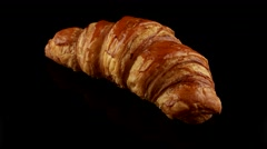 Fresh classic croissant - stock footage