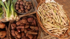 Fresh vegetables on a market in Madeira, Portugal Stock Footage