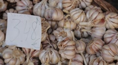 Garlic on a market Stock Footage
