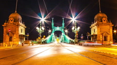 Timelapse view on the Liberty Bridge at night in Budapest Stock Footage