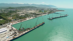 Russia. Sochi - 2013: V HD Aerial view of the promenade, and the sea port. Stock Footage