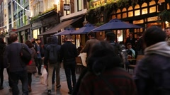 Soho crowds and a pub, London, England Stock Footage