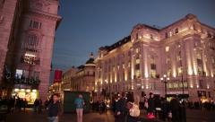 Beautiful pan across the Piccadilly Circus at night, London Stock Footage