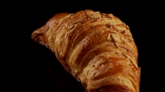 Croissant for breakfast with almonds Stock Footage