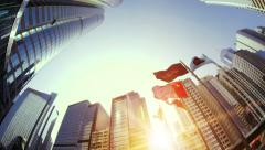 Hong Kong exchange square modern office buildings of business city district Stock Footage