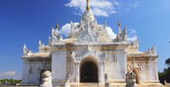 Buddhist temple architecture of ancient Inwa city in Myanmar (Burma), Mandalay Stock Footage