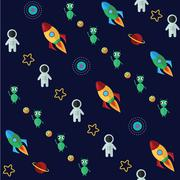 Space pattern with planets stars comets and constellations on dark background - stock illustration