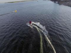 4K Aerial shot of boat on the river. Stock Footage