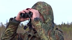 Guy use binoculars. Stock Footage