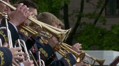 Ungraded: Brass Band Performs Jazz in Open Air Stock Footage