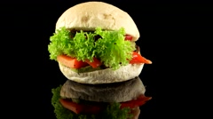 Vegetarian burger with roasted vegetables Stock Footage