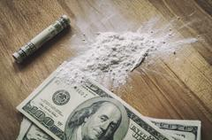 dollars and cocaine - stock photo