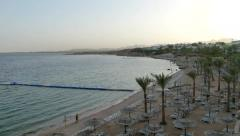 Red sea, hotel area, early moning. Stock Footage