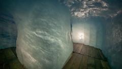 Inside view of ice cave in Rhone glacier Stock Footage