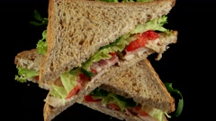 Fresh club sandwich with chicken and bacon Stock Footage