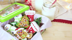 Home made Christmas cookies decorated with colorful icing. Stock Footage