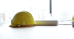 Architect helmet and project Stock Footage