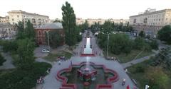Aerial shot of Volgograd city in russia. Fountain. - stock footage