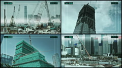 CCTV camera on constructed buildings in Hong Kong. - stock footage