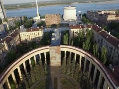 Aerial shot of city. Panorama Museum of the Battle of Stalingrad. Stock Footage