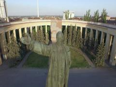 Aerial shot of Volgograd city in russia. Lenin monument. USSR. - stock footage