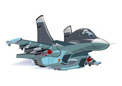 Stock Illustration of Cartoon Military Airplane
