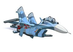 Cartoon Military Airplane - stock illustration