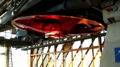 Wheel ropeway, ski lift, ski resort, giant wheel from the top of a ski lift - stock footage