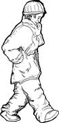 Stock Illustration of Single Man Walking