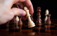 chess game king move - stock photo