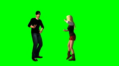 Man and woman dancing on a green screen Stock Footage