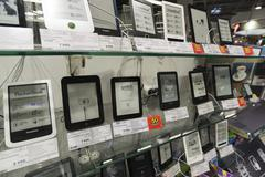 Khimki, Russia - December 22 2015. E-books in Mvideo large chain stores selling Stock Photos