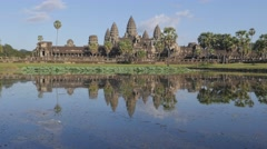Angkor Wat with reflection in pool,Siem Reap,Cambodia - stock footage