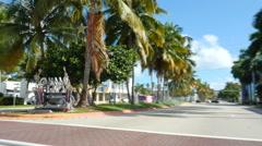 Miami Beach 5th Street eastbound Stock Footage