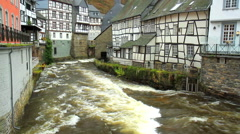 View of the small German town Monschau. The river Rur. - stock footage