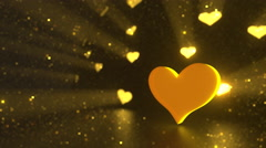 Valentine day golden heart background, loop able Stock Footage