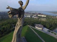 Aerial shot of Motherland Statue in Mamaev Kurgan. Stalingrad / Volgograd. Stock Footage