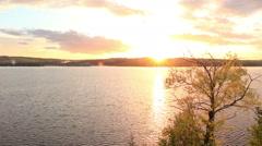 Sunset on the river Kama. Cape Strelka, Gorodishche Village Stock Footage