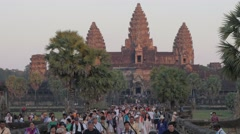 Tourist masses after visiting Angkor Wat,Siem Reap,Cambodia - stock footage