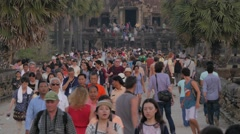 Stock Video Footage of Tourist crowds after visiting Angkor Wat,Siem Reap,Cambodia
