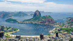 Timelapse View of Sugarloaf Mountain in Rio de Janeiro, Brazil - Zoom In Stock Footage