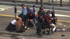Group of beggars at the Seoul Station. South Korea. Stock Footage