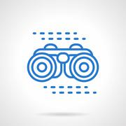 Binoculars vector icon blue line style - stock illustration