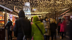 Stock Video Footage of Kiev, Ukraine, December 25, 2015:  New Year's Day in Kiev. Timelaps