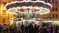 Kiev, Ukraine, December 25, 2015:  Holiday carousel. Happy Christmas in Kiev. Stock Footage